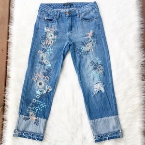 Liverpool Casey Wide Crop Embroidered Jeans